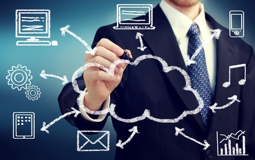 Businessman with cloud computing and connectivity concept